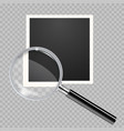 transparent magnifying glass on blank photo frame vector image vector image