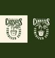 vintage cannabis flower label template vector image