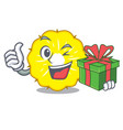 with gift pineapple slice fruit isolated on vector image vector image