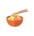 japanese ramen soup and chopsticks flat icon vector image