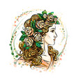 woman in flower wreath vector image