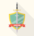 Sword and shield flat style badge icon vector image