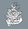 tattoo bird sitting on rose lettering mother vector image