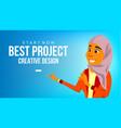 arab woman banner arab business woman vector image vector image