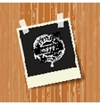 Black photo frame with rubber sign Coffee vector image