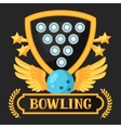 Bowling emblem with game objects Image for vector image vector image