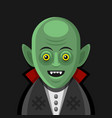 cute cartoon green vampire on derk background vector image