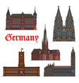german architectural travel landmark icon set vector image vector image