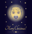 greeting card merry christmas jesus baby face of vector image