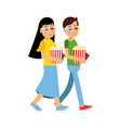 happy couple in 3d glasses with popcorn going to vector image vector image