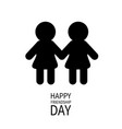 happy friendship day girls holding hands icon vector image vector image