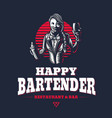 happy woman bartender or barman young girl at vector image