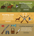 hunting banner horizontal set flat style vector image