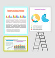 infographics and infocharts whiteboard with charts vector image vector image