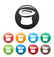 inverted hat icons set color vector image vector image
