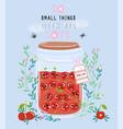 jar of cherry jam with cute kawaii berries vector image