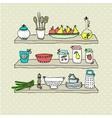 Kitchen utensils on shelves sketch drawing vector image