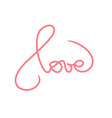 love romantic lettering red calligraphy postcard vector image vector image