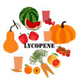 lycopene healthy nutrient rich food vector image vector image