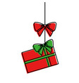 merry christmas gift hanging bow ribbon ornament vector image