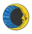 moon with face sketch vector image vector image