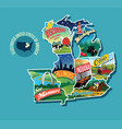 pictorial map united states vector image vector image