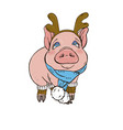 pig in christmas costumes vector image vector image