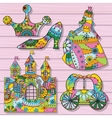 Princess decorations colorful on wooden background vector image vector image