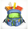 schoolbag backpack with school supplies 3d icon vector image