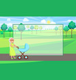 senior lady with trolley pram walking in city park vector image