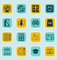 set of 16 education icons includes haversack vector image vector image