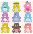 Set of cute teddy bears vector image vector image
