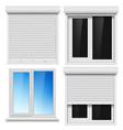 set pvc windows and metal roller blind vector image