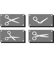 set white scissors on gray plate vector image vector image