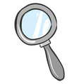 silver magnifying glass on white background vector image vector image