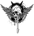 skull punk with wings and guitars vector image
