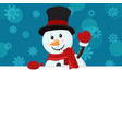 snowman in a hat peeks out from behind a white vector image