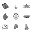 South Korea set icons in monochrome style Big vector image