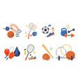 sports items set glove and baseball bat fitness vector image vector image