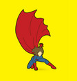 strong woman superhero landing powerful action vector image