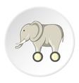 Toy elephant on wheels icon cartoon style vector image vector image