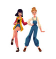 two girls women friends dancing at 90s retro vector image vector image