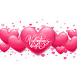 valentines day lettering on holiday banner vector image