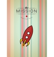 Vintage rocket in space vector image vector image