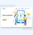 voice recognition website landing page vector image vector image