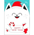 White Cat holding Happy New Year text Candy cane vector image vector image