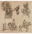 wild west and native americans - an hand drawn vector image vector image