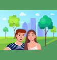 young guy and girl making selfie at public city vector image vector image