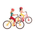 young woman riding bicycle cycling together with vector image vector image