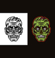 zombie head in two styles vector image
